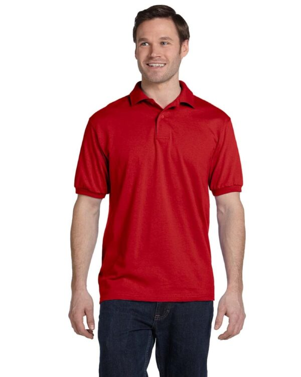 Hanes 054 50-50 poly-cotton budget custom polo bulk custom shirts deep red