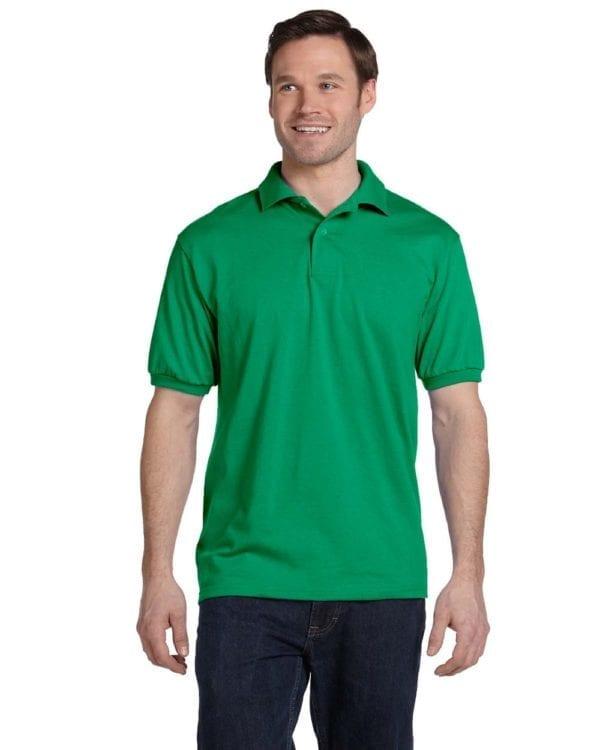 Hanes 054 50-50 poly-cotton budget custom polo bulk custom shirts kelly greenHanes 054 50-50 poly-cotton budget custom polo bulk custom shirts kelly green