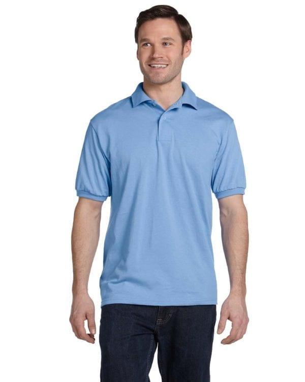 Hanes 054 50-50 poly-cotton budget custom polo bulk custom shirts light blue