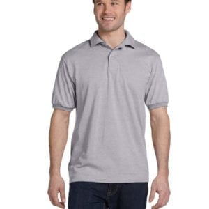 Hanes 054 50-50 poly-cotton budget custom polo bulk custom shirts light steel