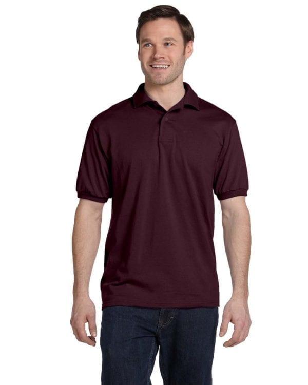 Hanes 054 50-50 poly-cotton budget custom polo bulk custom shirts maroon