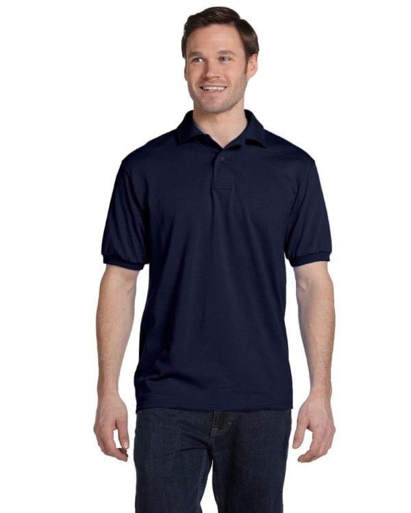 Hanes 054 50-50 poly-cotton budget custom polo bulk custom shirts navy
