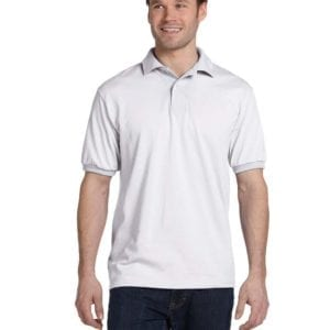 Hanes 054 50-50 poly-cotton budget custom polo bulk custom shirts white