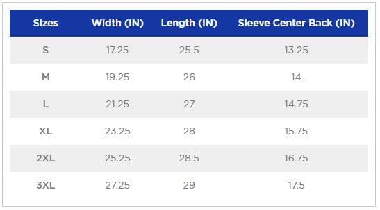 Gildan G500B Youth Size Chart