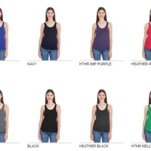 american apparel bb308w ladies poly-cotton racerback custom tank colors