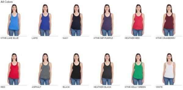 american apparel bb308w ladies poly-cotton racerback custom tank colors
