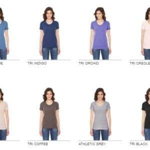 bulk custom shirts - american apparel tr301w custom ladies triblend track tshirt bulk custom shirts colors