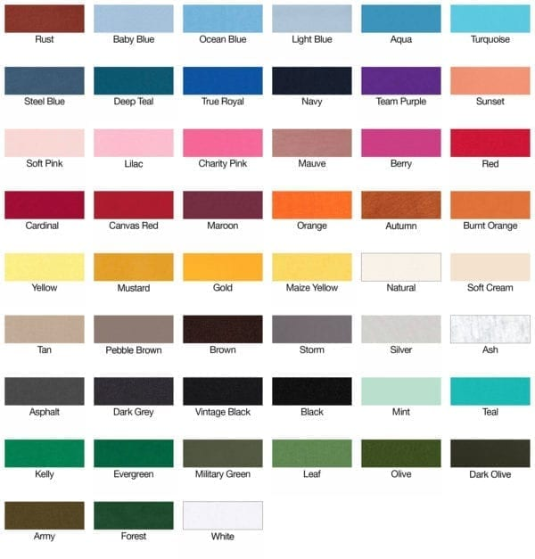 bella-canvas 3001c color swatches