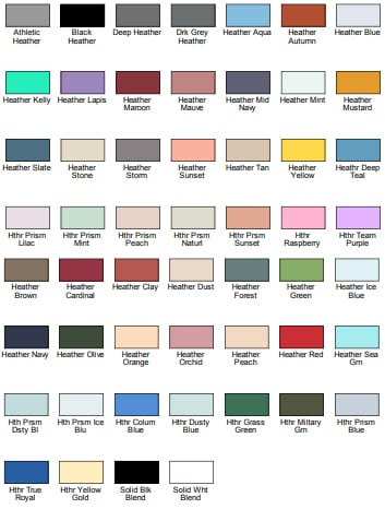 bella-canvas 3001cvc color swatches bulk custom shirts