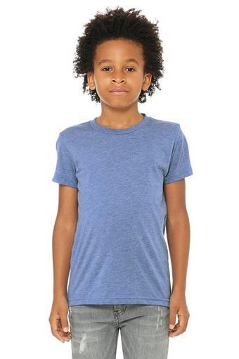 bella canvas 3413y personalize youth triblend shirt bulk custom shirts blue triblend