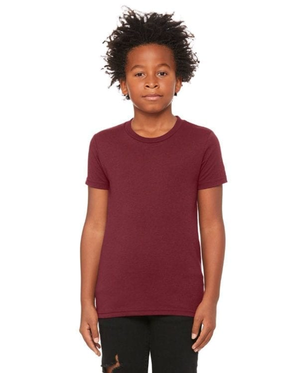 bella canvas 3413y personalize youth triblend shirt bulk custom shirts maroon triblend