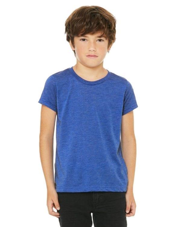 bella canvas 3413y personalize youth triblend shirt bulk custom shirts royal triblend