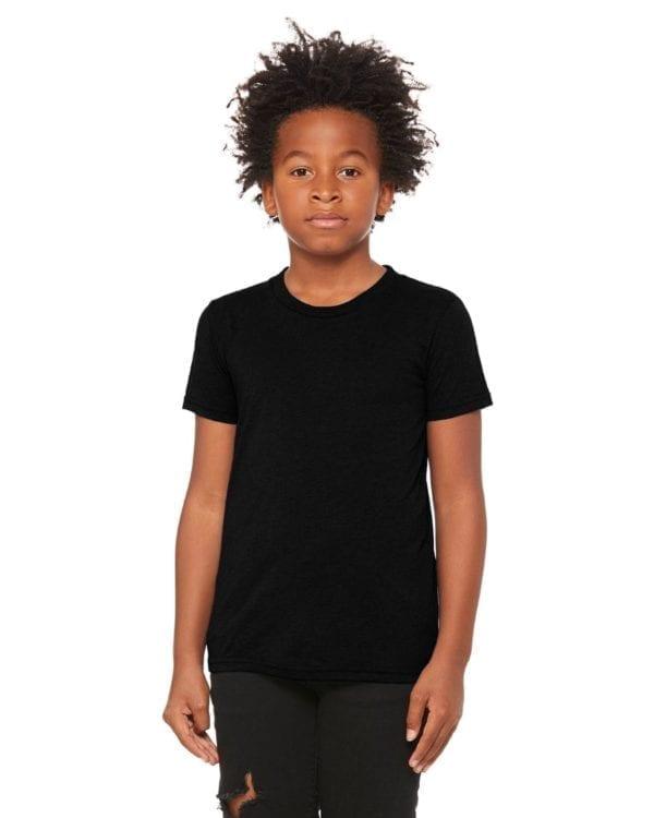 bella canvas 3413y personalize youth triblend shirt bulk custom shirts solid black triblend
