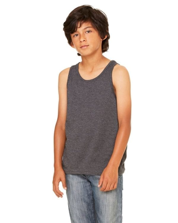 bella canvas 3480y personalize youth jersey tank top bulk custom shirts dark grey heather