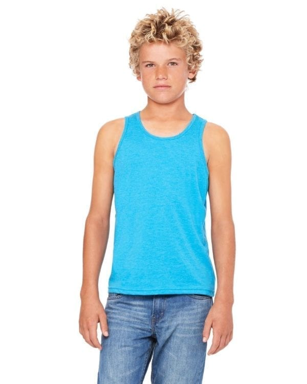 bella canvas 3480y personalize youth jersey tank top bulk custom shirts neon blue