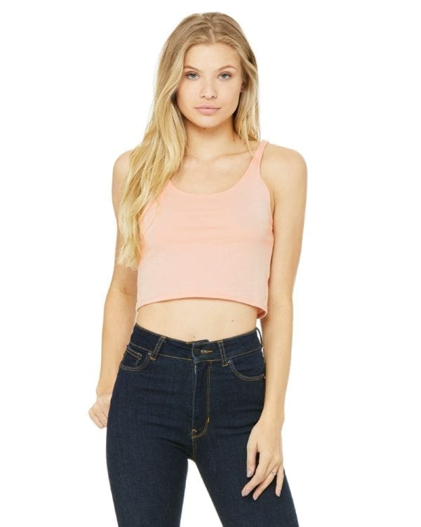 bella canvas 6680 custom poly-cotton crop tank heather peach