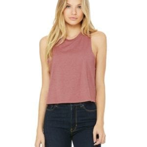 bella canvas 6682 custom racerback cropped top heather mauve