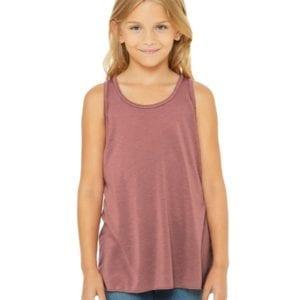 bella canvas b8800y personalize youth flowy racerback tank top bulk custom shirts mauve