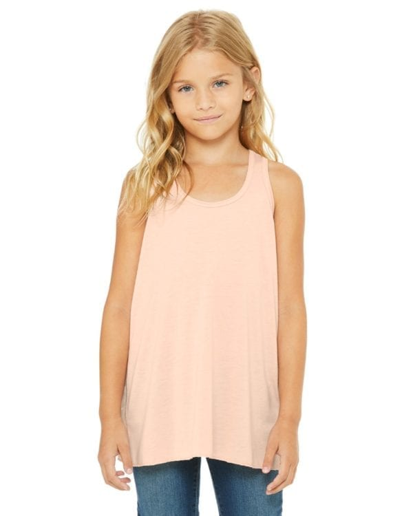 bella canvas b8800y personalize youth flowy racerback tank top bulk custom shirts peach