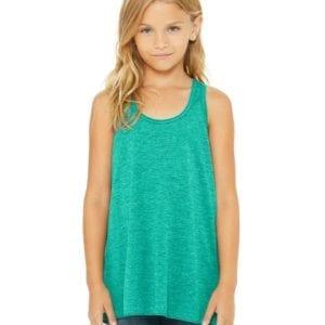 bella canvas b8800y personalize youth flowy racerback tank top bulk custom shirts teal