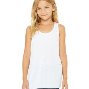bella canvas b8800y personalize youth flowy racerback tank top bulk custom shirts white