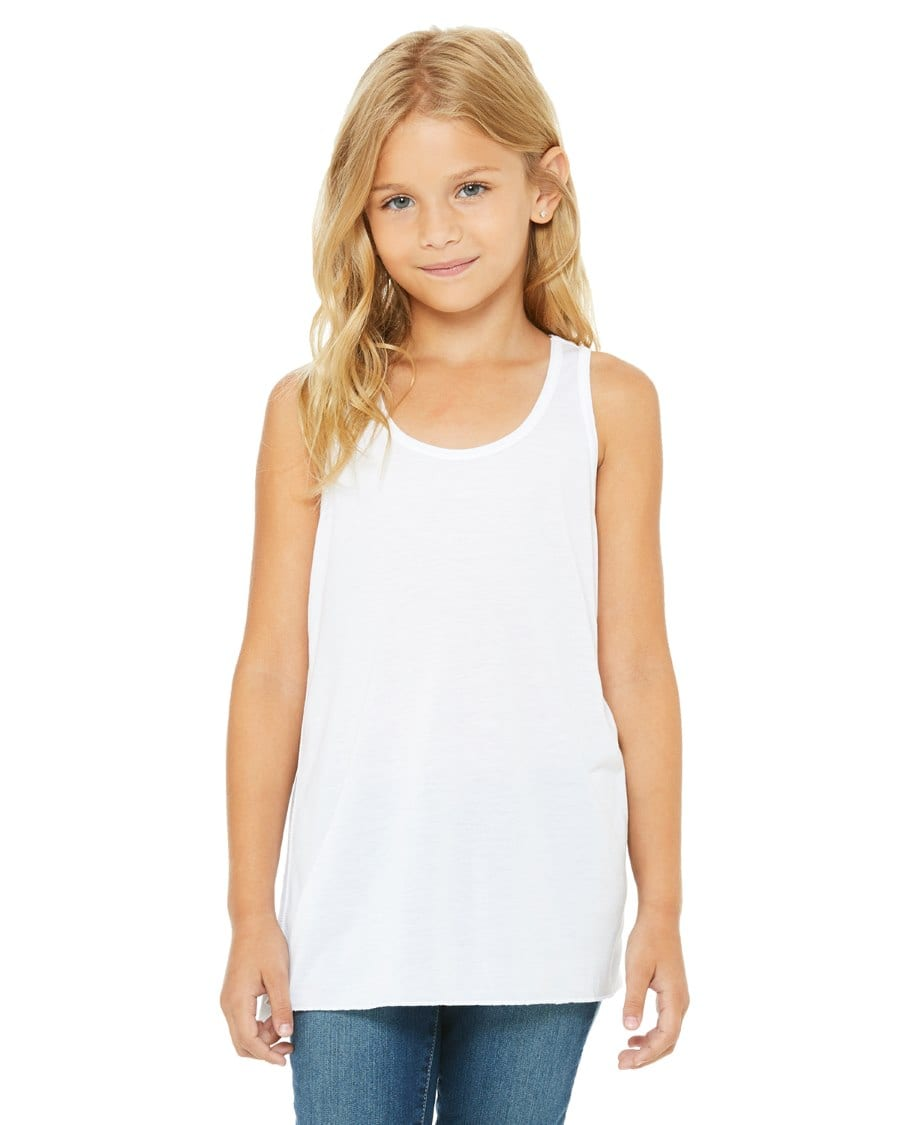 6dd4db39f8 bella canvas b8800y personalize youth flowy racerback tank top bulk custom  shirts white