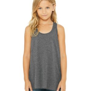 bella canvas b8800y personalize youth flowy racerback tank top dark grey heather