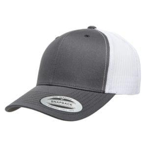 bulk custom hats yupoong 6606 custom retro trucker snapback cap charcoal white