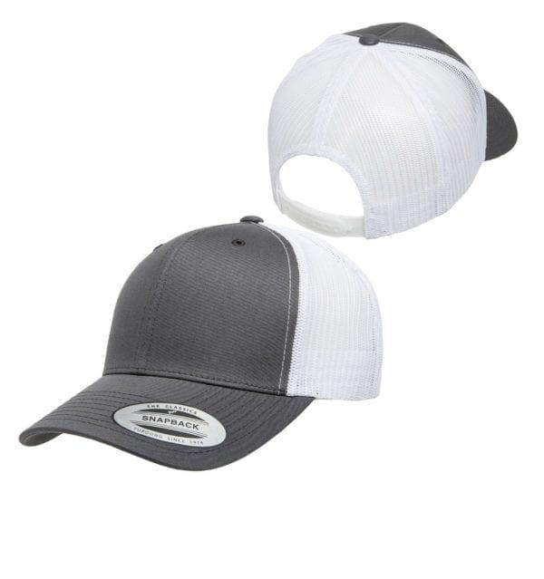 bulk custom hats yupoong 6606 custom retro trucker snapback cap charcoal white front back