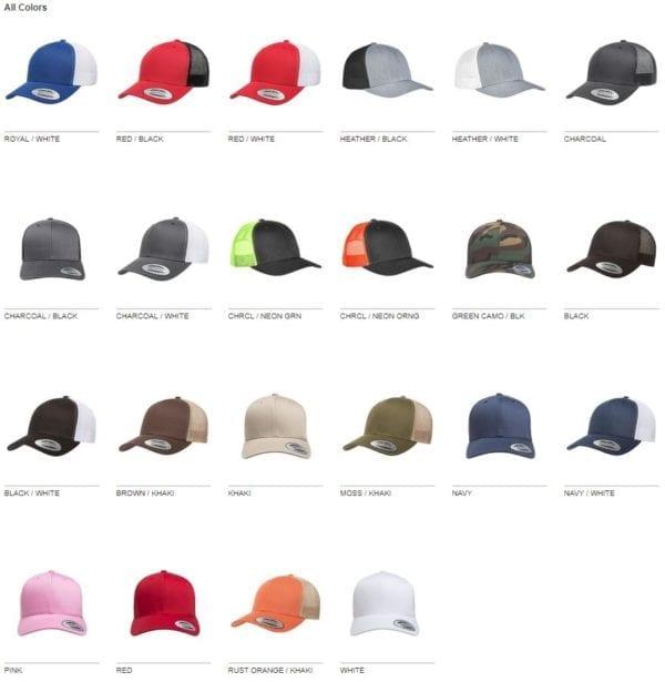 bulk custom hats yupoong 6606 custom retro trucker snapback cap colors