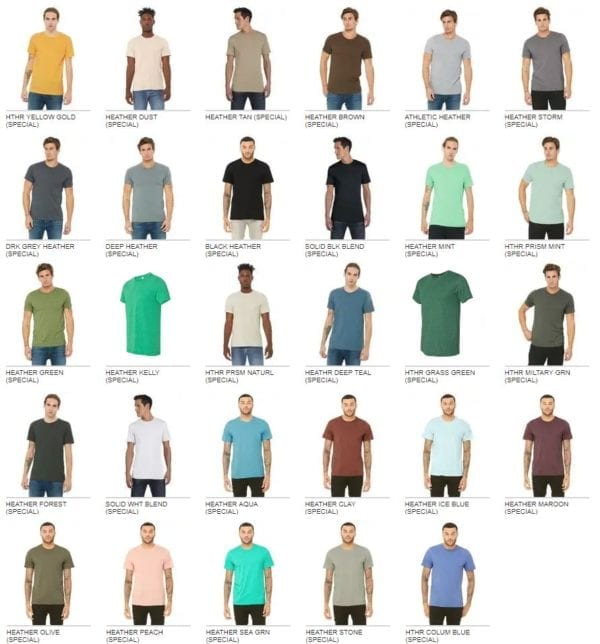 bulk custom shirts bella canvas 3001cvc custom unisex jersey shirt colors pg2