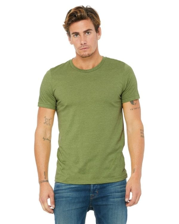 bulk custom shirts bella canvas 3001cvc custom unisex jersey shirt heather green (2)
