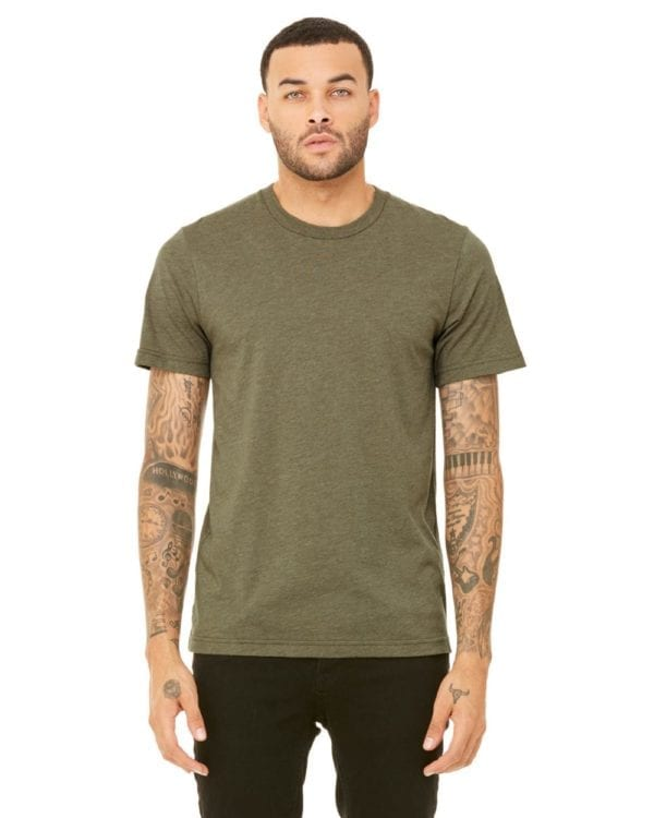 bulk custom shirts bella canvas 3001cvc custom unisex jersey shirt heather olive