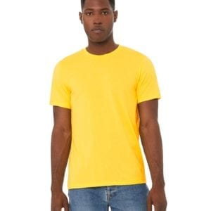 bulk custom shirts bella canvas 3001cvc custom unisex jersey shirt heather yellow