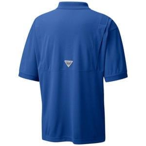 bulk custom shirts colmbia 6016 perfect cast custom pfg polo business work clothes vivid blue back