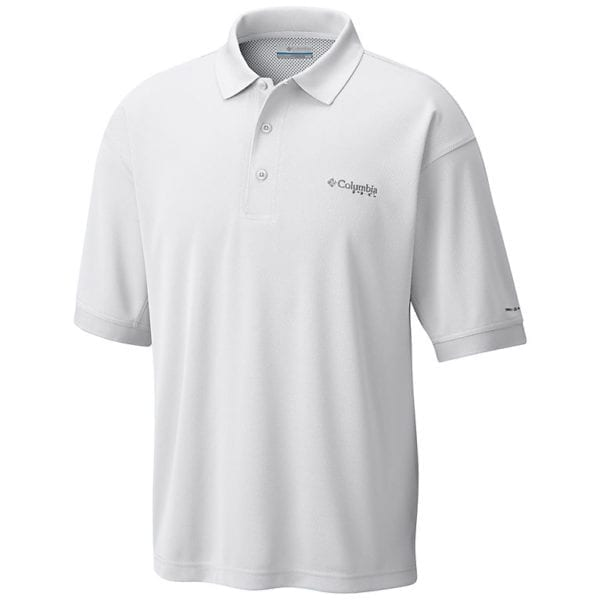 bulk custom shirts colmbia 6016 perfect cast custom pfg polo business work clothes white