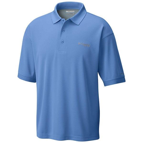 bulk custom shirts colmbia 6016 perfect cast custom pfg polo business work clothes white cap blue