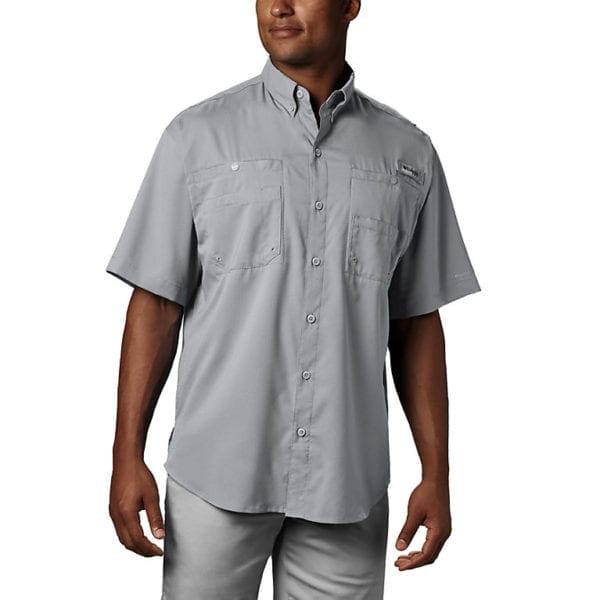 bulk custom shirts columbia 7266 men's custom personalize tamiami II short sleeve shirt cool grey 2
