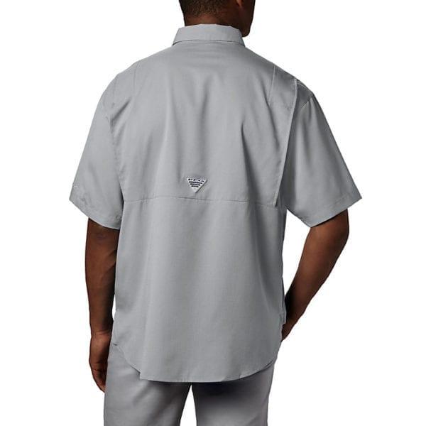 bulk custom shirts columbia 7266 men's custom personalize tamiami II short sleeve shirt cool grey back 2