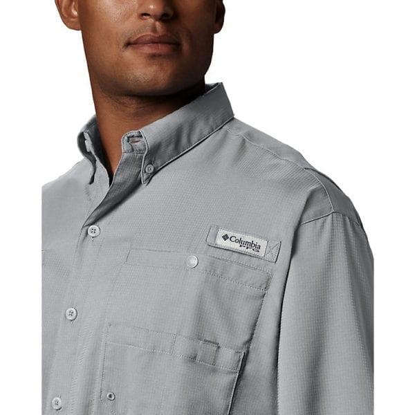 bulk custom shirts columbia 7266 men's custom personalize tamiami II short sleeve shirt cool grey closeup front