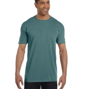 bulk custom shirts comfort colors 6030cc heavyweight rs custom pocket t shirt blue spruce