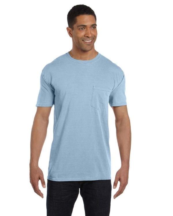 bulk custom shirts comfort colors 6030cc heavyweight rs custom pocket t shirt ice blue