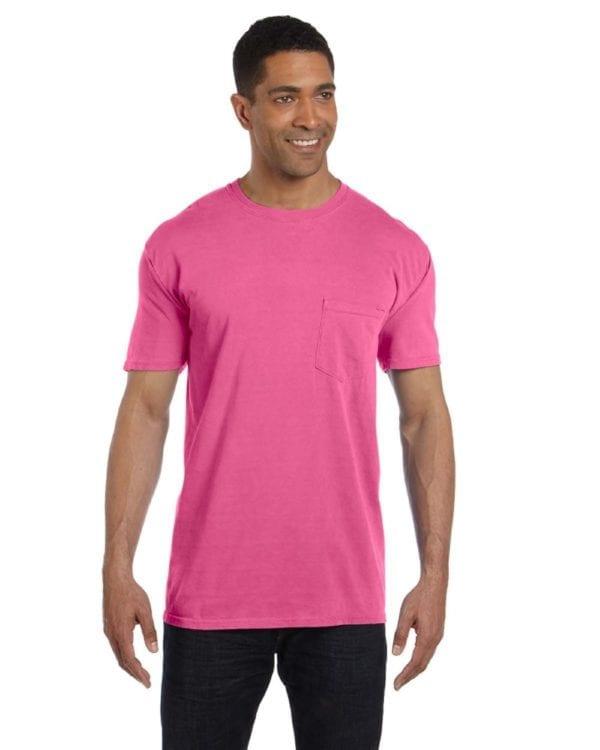 bulk custom shirts comfort colors 6030cc heavyweight rs custom pocket t shirt neon pink