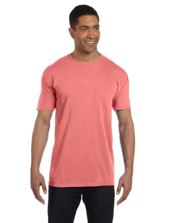bulk custom shirts comfort colors 6030cc heavyweight rs custom pocket t shirt neon red orange