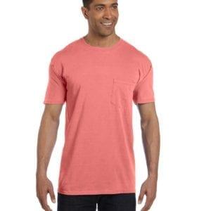 bulk custom shirts comfort colors 6030cc heavyweight rs custom pocket t shirt neon red orange front