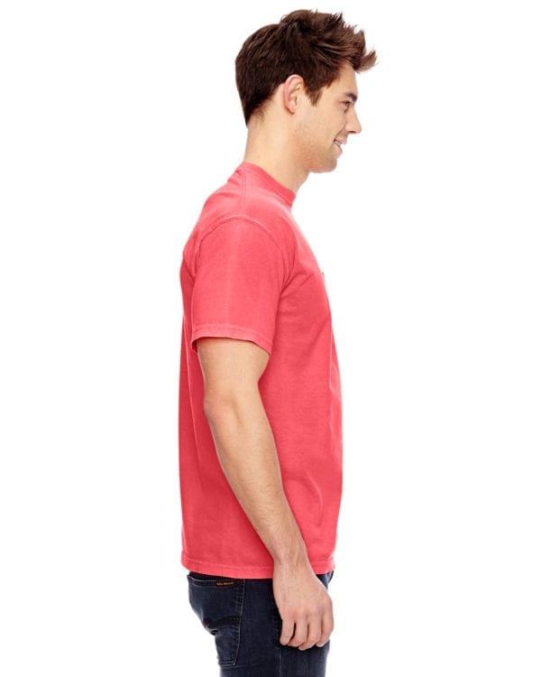 bulk custom shirts comfort colors 6030cc heavyweight rs custom pocket t shirt neon red orange side