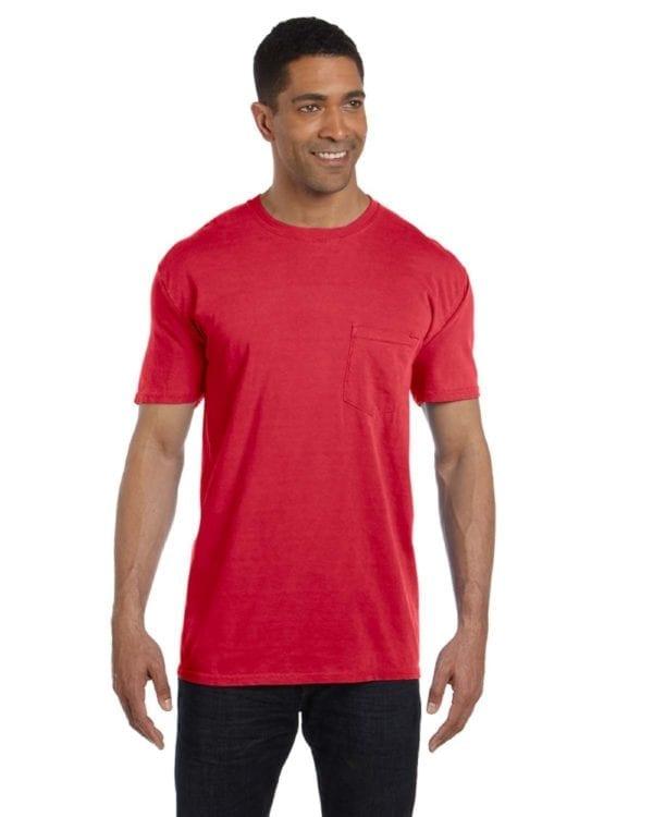 bulk custom shirts comfort colors 6030cc heavyweight rs custom pocket t shirt paprika