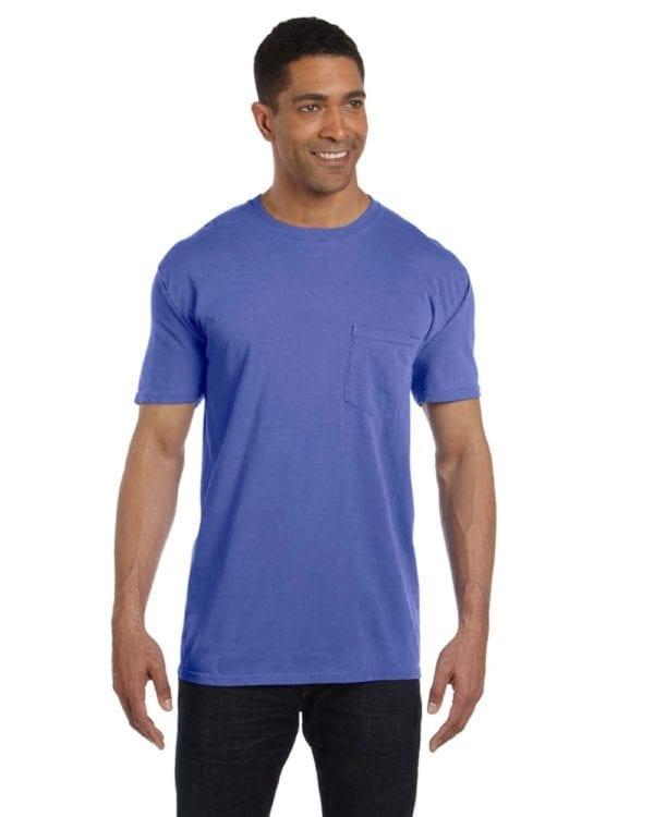 bulk custom shirts comfort colors 6030cc heavyweight rs custom pocket t shirt periwinkle