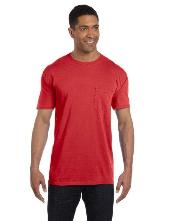 bulk custom shirts comfort colors 6030cc heavyweight rs custom pocket t shirt red