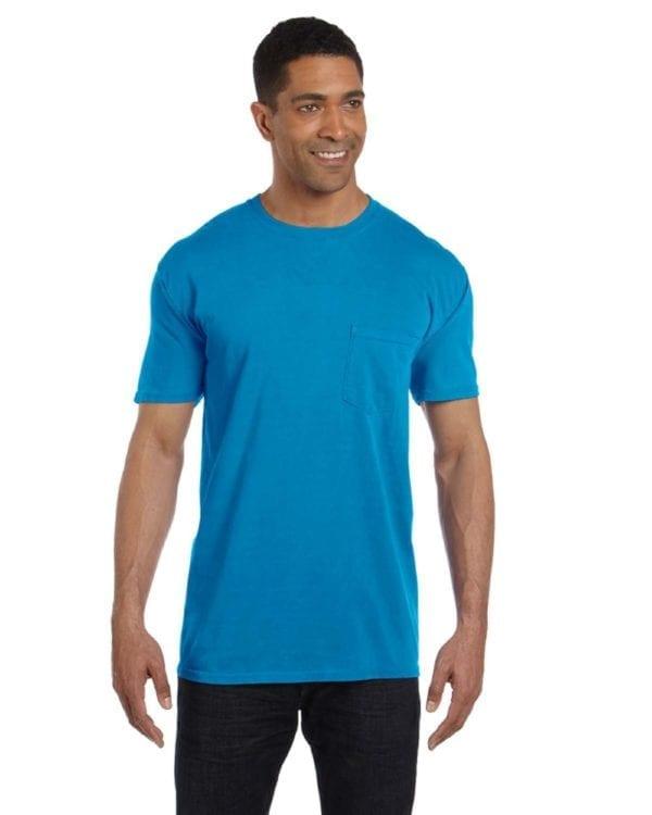 bulk custom shirts comfort colors 6030cc heavyweight rs custom pocket t shirt sapphire